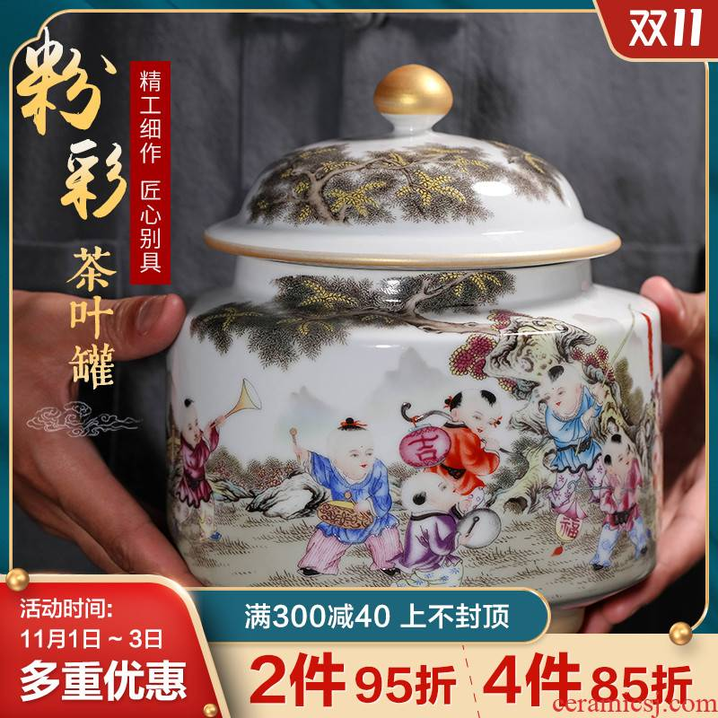 Jingdezhen ceramic restoring ancient ways with cover caddy fixings manual household, moistureproof prevent wet seal small puer tea box jar