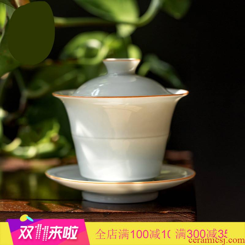 . Poly real scene sweet white sweet pea green waist line jade craft porcelain only three tureen jingdezhen kung fu tea set with cover cup