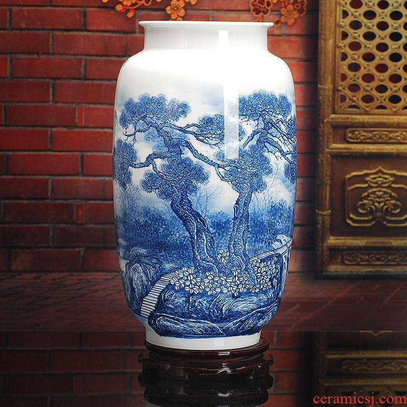 412 jingdezhen ceramic hand - made vases, modern home sitting room mesa adornment blue furnishing articles famous works