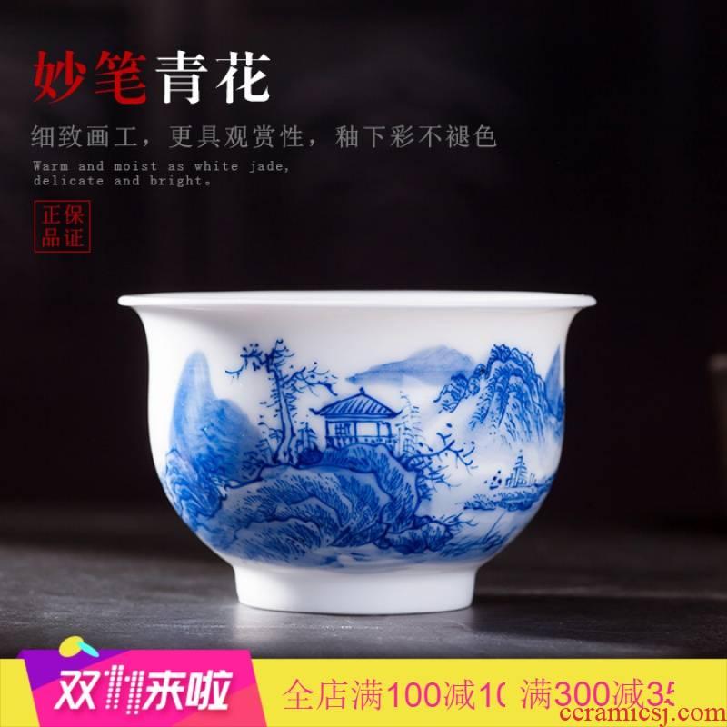 Poly real scene of jingdezhen blue and white landscape sample tea cup white porcelain ceramic hand - made kung fu tea set porcelain cups move
