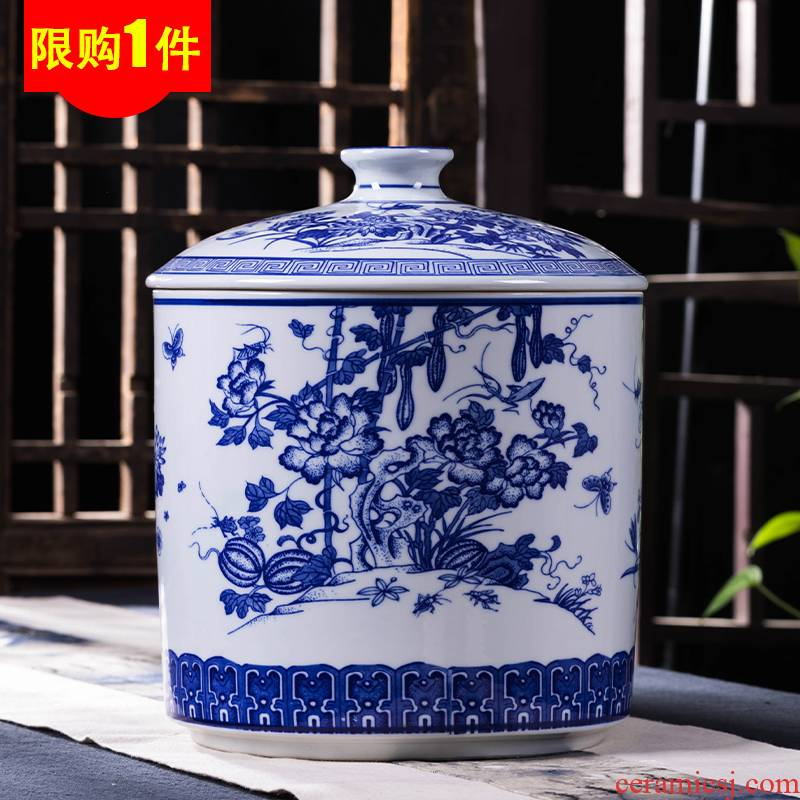 Jingdezhen ceramic tea pot size bigger sizes porcelain pu - erh tea barrel scattered tea urn cylinder seal POTS