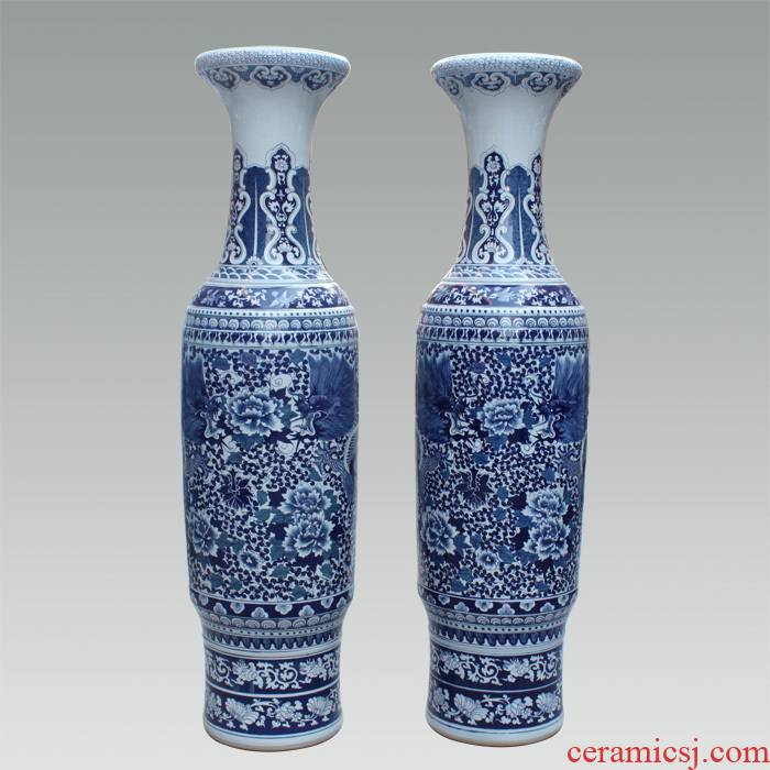 134 archaize of jingdezhen blue and white hand made peony opening taking 1.8 meters 2.2 meters/antique vase