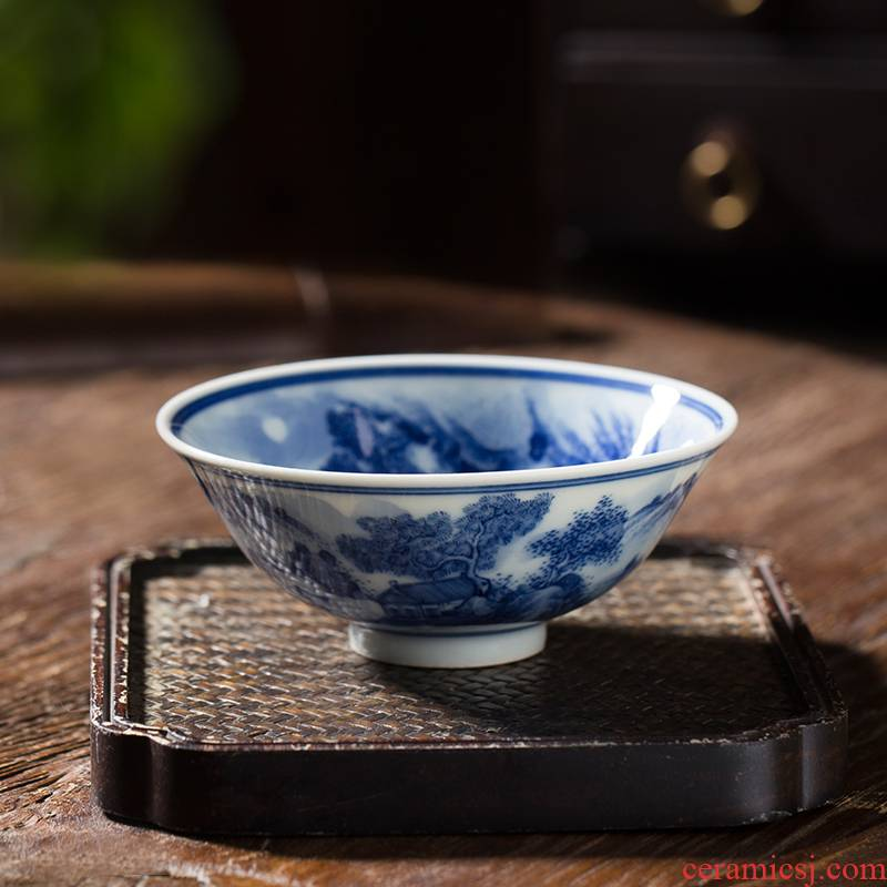Owl up jingdezhen blue and white landscape cup drawing hat to maintain tea cup kongfu master cup single CPU