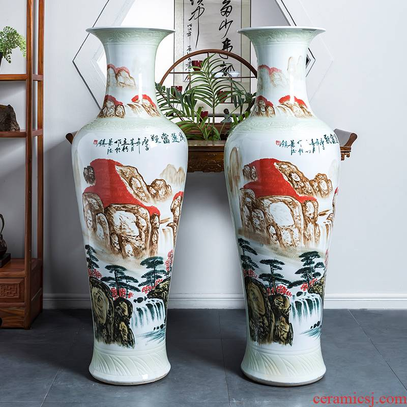 Jingdezhen ceramics much luck big vase hand - made landscape painting the living room floor large hotel decoration furnishing articles