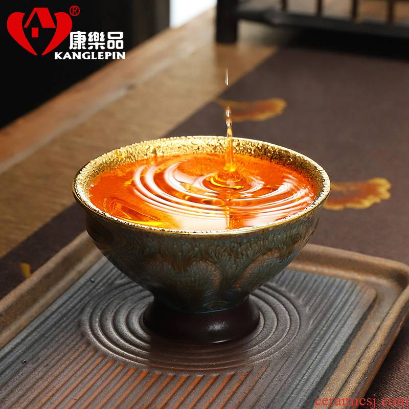 Recreation violet arenaceous temmoku tea light gold light manual yellow marigold master cup single CPU built large big tea cups