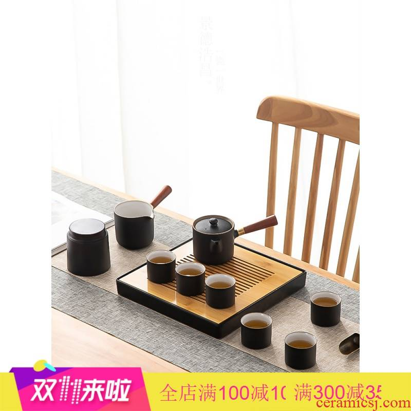 Poly real view jingdezhen kung fu tea set of black suit visitor home sitting room office tea contracted Japanese tea set