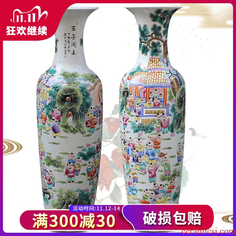 Jingdezhen ceramics hand - made archaize pastel lad spring of large vase porcelain sitting room adornment is placed