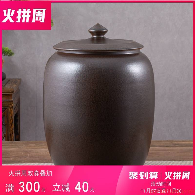 Jingdezhen ceramic barrel with cover household 30 kg to rice storage box old seal insect - resistant moistureproof ricer box rice such as pot