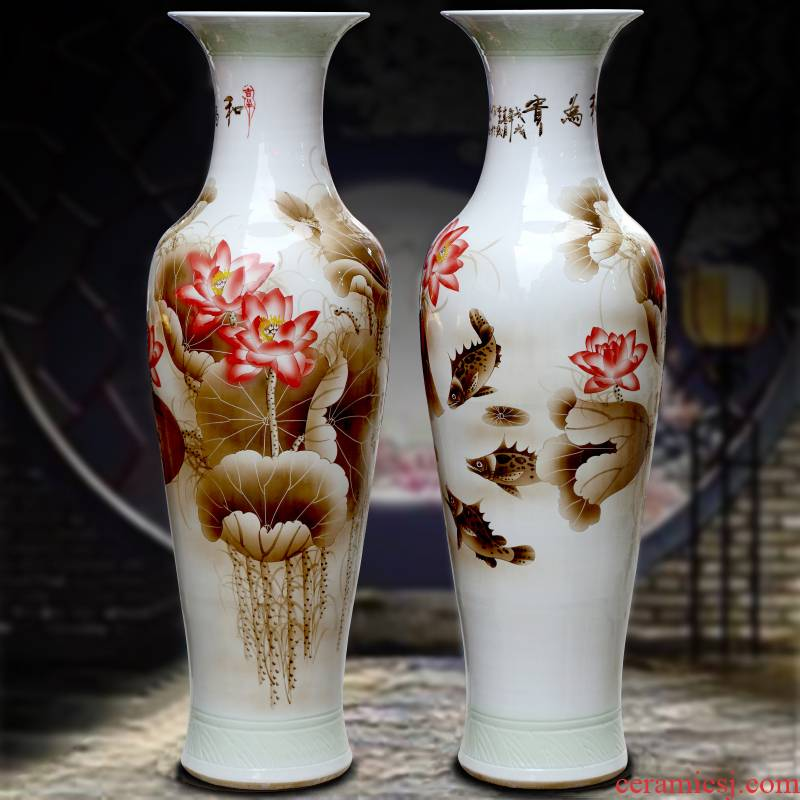 Jingdezhen ceramic hand - made color ink harmony is the sitting room of large vase household study office decoration furnishing articles