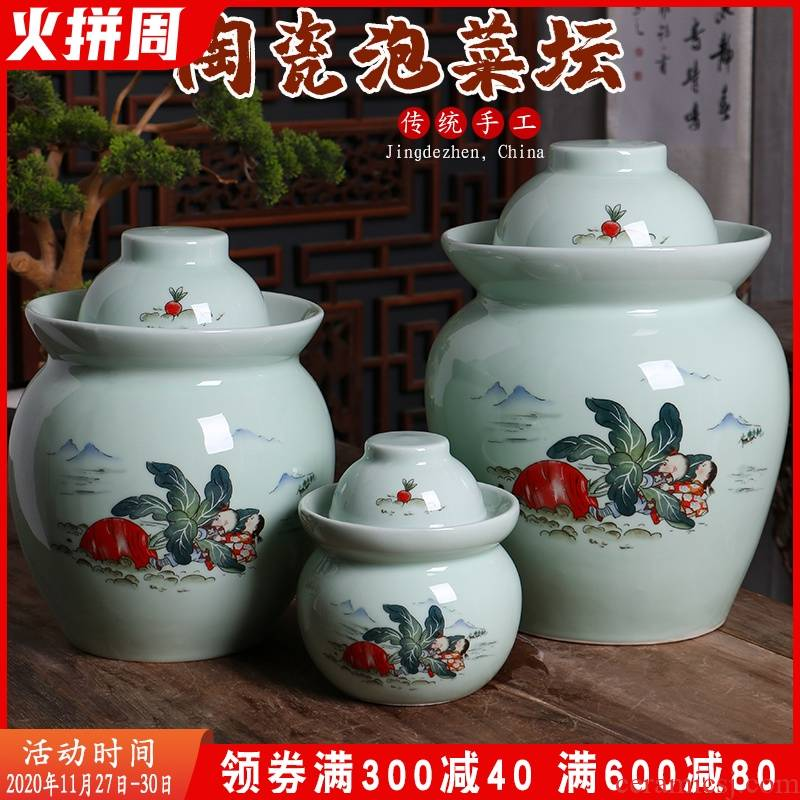 Jingdezhen ceramic household pickle jar thickening old pickles preserved salted duck dense eggs cylinder double cover seal storage tank