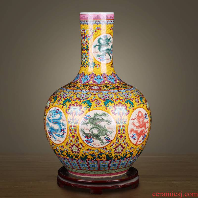 Jingdezhen ceramics large vases, new Chinese style living room colored enamel furnishing articles lucky bamboo flower arranging, home decoration