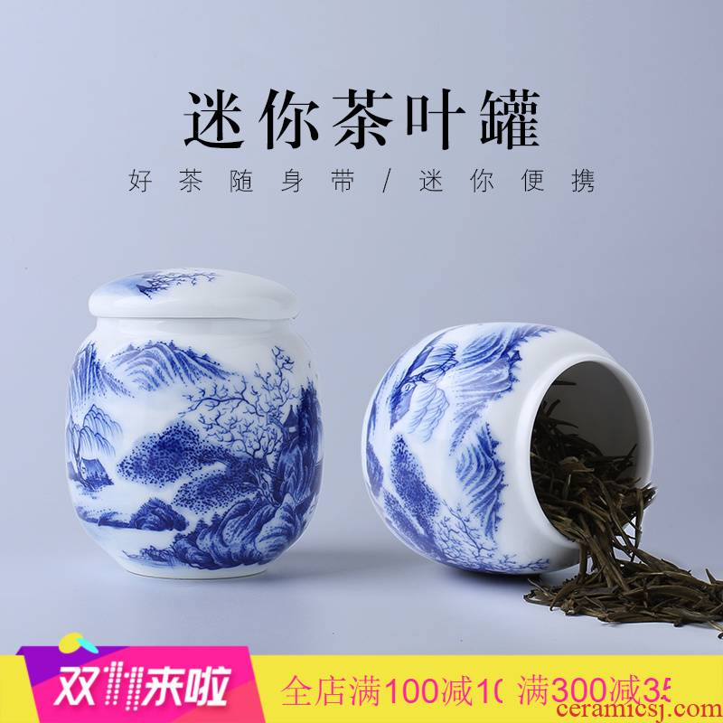 Poly real view jingdezhen porcelain ceramic mini caddy fixings hand - made seal pot tea accessories small portable travel