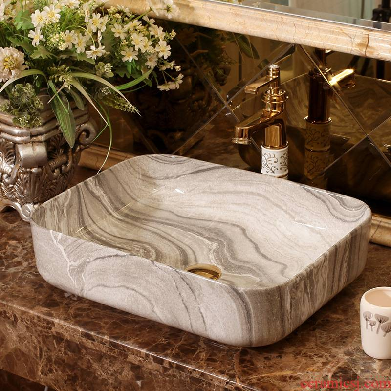 Square sink basin European - style balcony art ceramics on household contracted the lavatory toilet lavatory