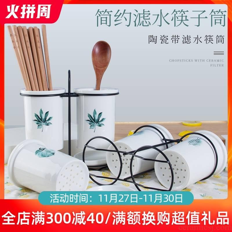 Ceramic chopsticks tube informs the creative Nordic binocular drop box chopsticks the receive kitchen chopsticks box chopsticks tube