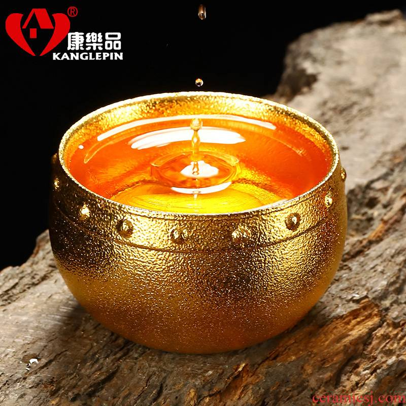 Recreational product violet arenaceous bodhi leaf yellow marigold ceramic checking sample tea cup tea cup 9.3 cm high, 5.3 cm wide