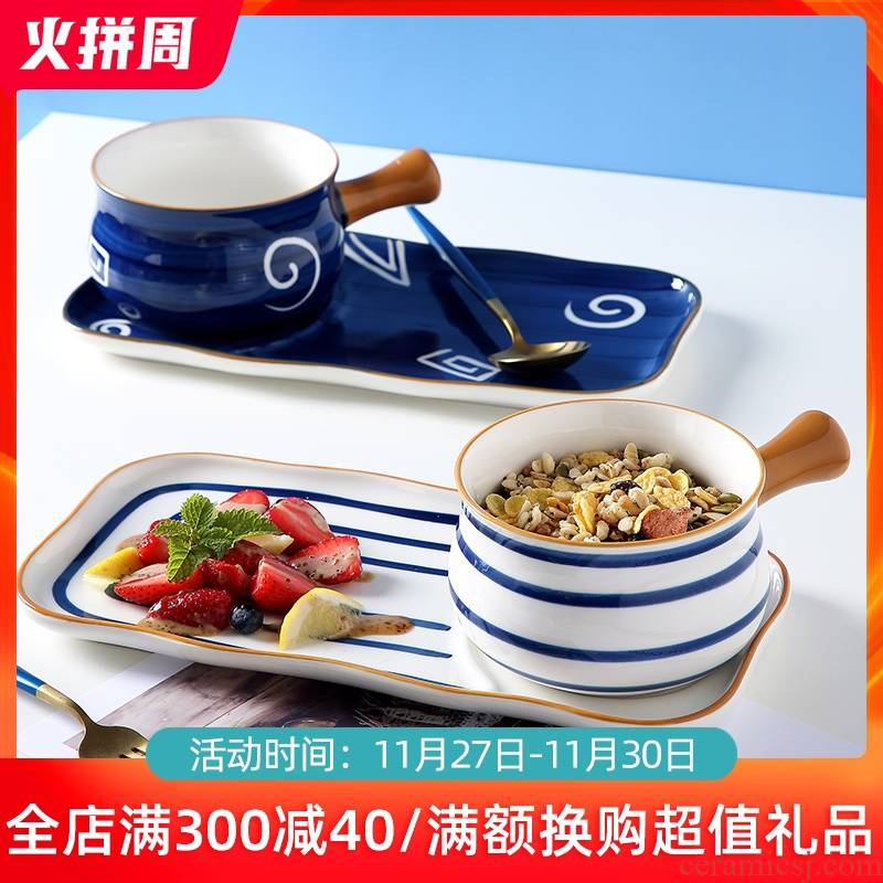 Japanese ceramic dishes home ideas with handle one breakfast cereal bowl of milk a cup of water glass tableware suit