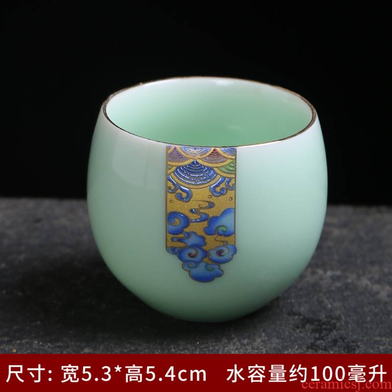 Celadon kung fu tea set ceramic household tureen teapot teacup master cup single cup tea individual cup of a complete set of