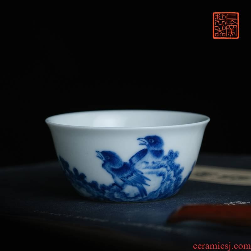 Offered home - cooked long up in jingdezhen blue and white flowers lie fa cup making those yongzheng manual master cup of tea