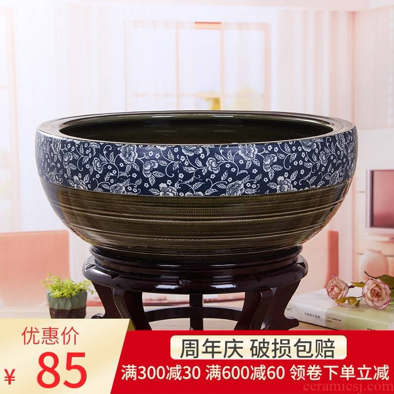 Jingdezhen ceramic goldfish turtle cylinder restoring ancient water lily basin large porcelain bowl lotus sitting room hydroponic porcelain jar