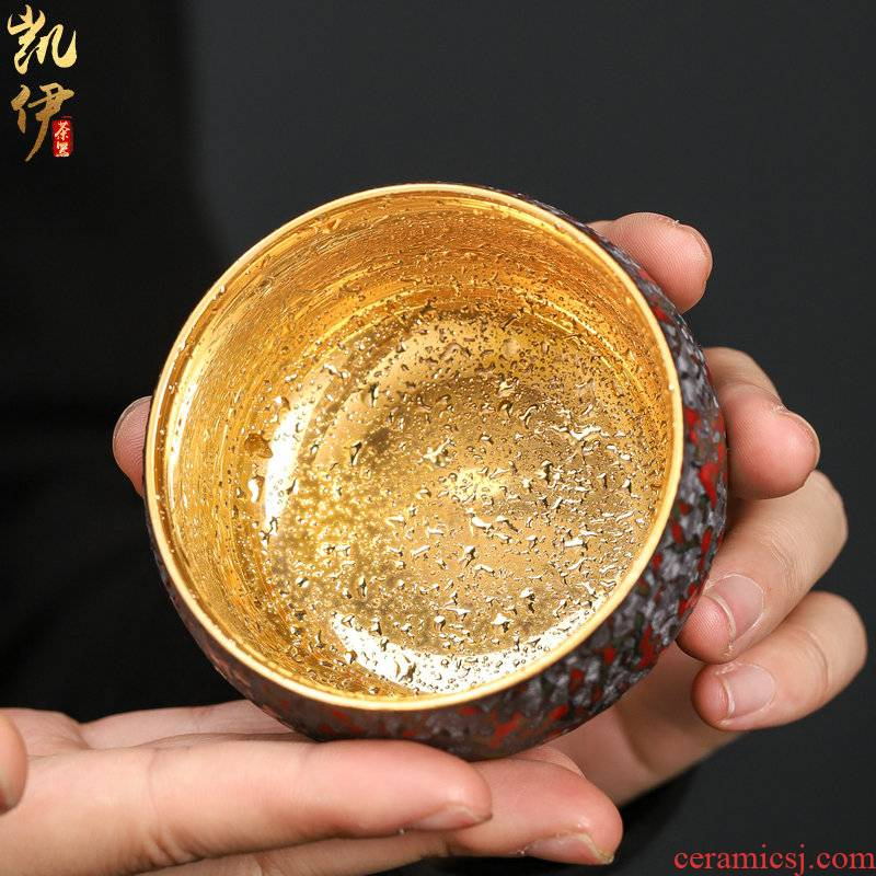 Manual 24 k gold see colour sample tea cup single glass cups built red glaze, ceramic tea bowl masters cup