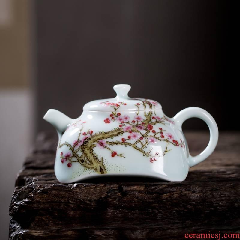 The Owl up jingdezhen tea set ceramic kunfu tea teapot square name plum colored enamel small manual single pot