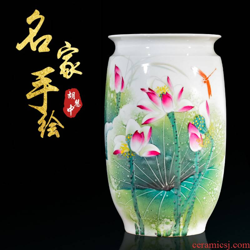 Jingdezhen ceramic hand - made sitting room rich ancient frame study Chinese flower arranging lotus rhyme vase household decorative crafts
