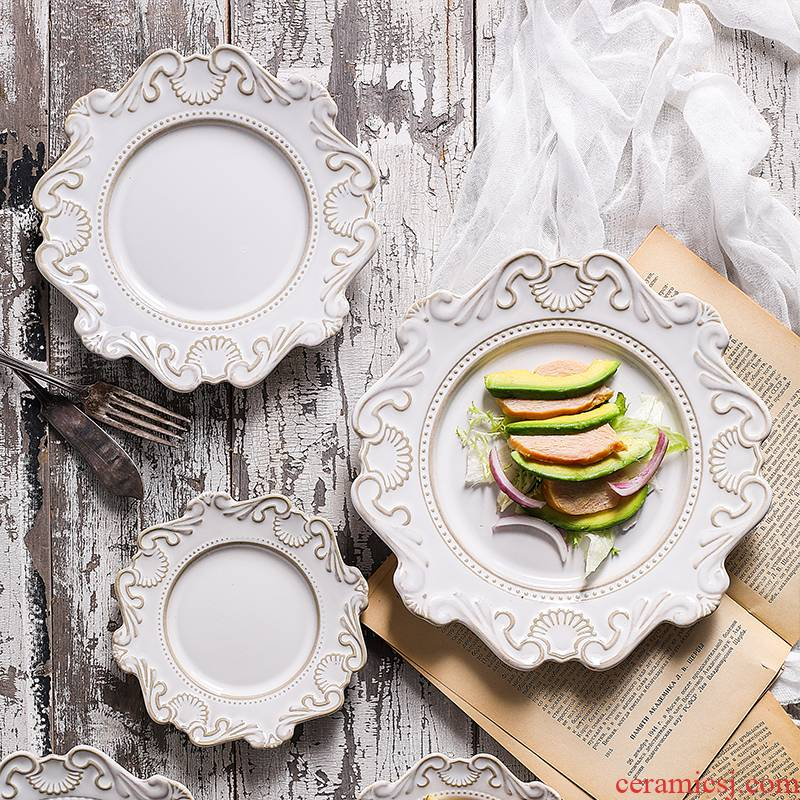 Li feng town Nordic retro anaglyph baroque checking lace high - grade ceramic tableware ceramic package