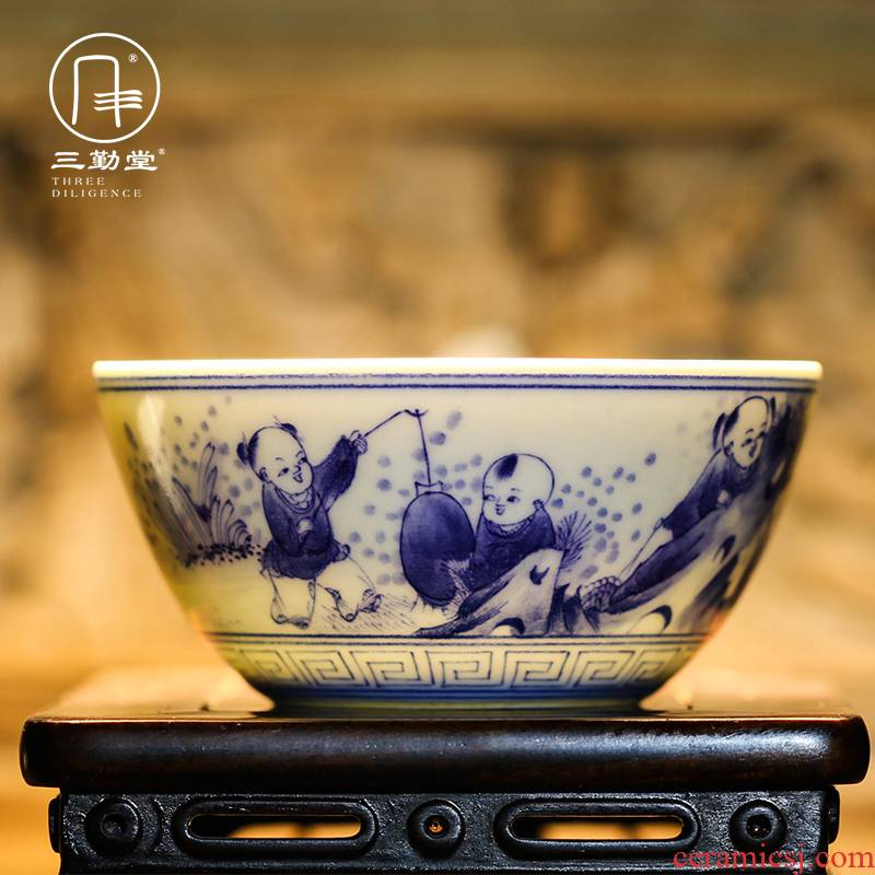 Three frequently hall jingdezhen blue and white porcelain masters cup kung fu tea cups hand - made scenery sample tea cup S43018 thin tea cup