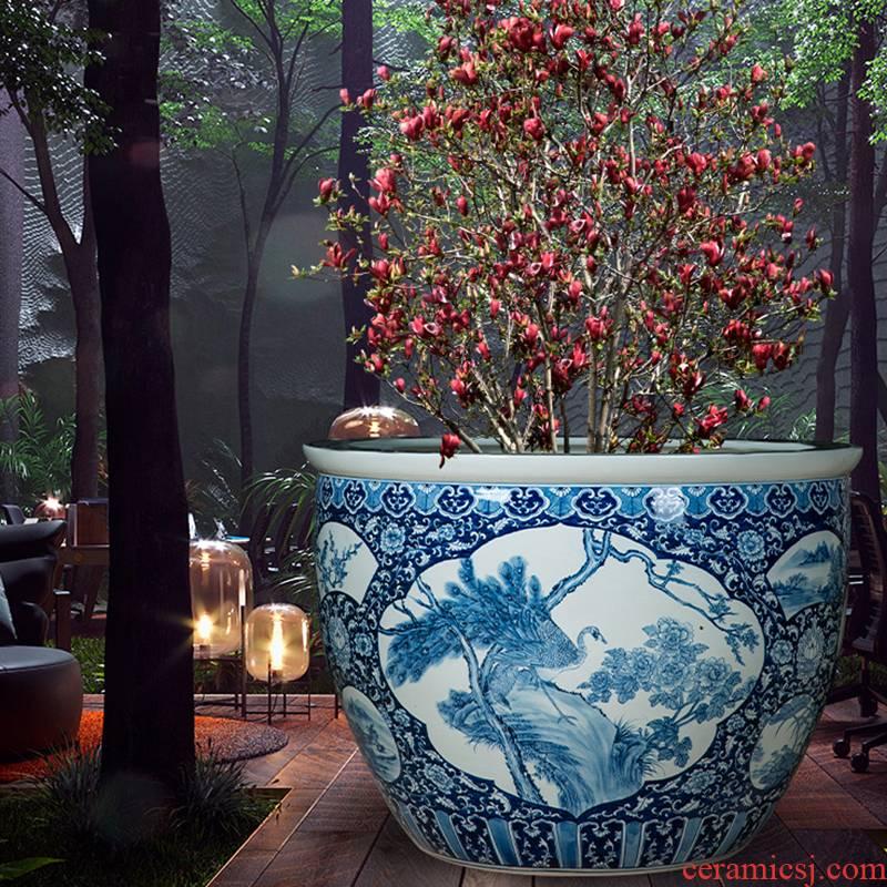 Heavy jingdezhen ceramic aquarium tank porcelain jar courtyard sleep sitting room basin bowl lotus lotus tortoise cylinder garden furnishing articles