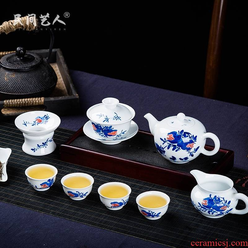 Jingdezhen ceramic hand - made kung fu tea tureen fair keller of blue and white porcelain teapot) sample tea cup cup monogamous
