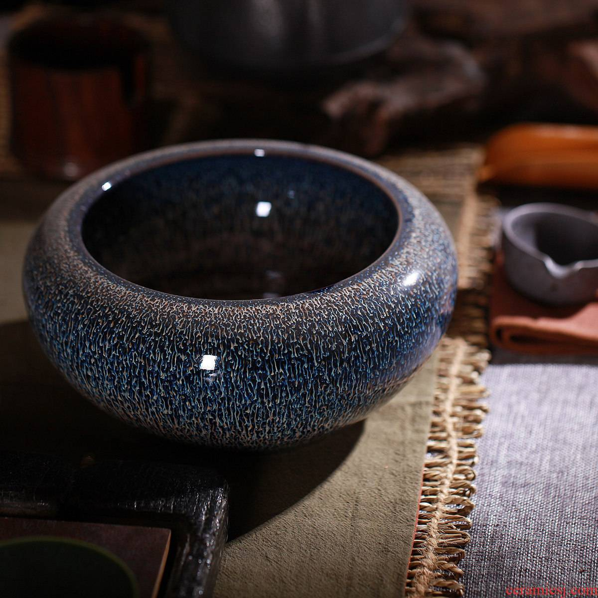 One thousand fire tea tea to wash large manual jingdezhen ceramic household variable writing brush washer tea accessories water restoring ancient ways