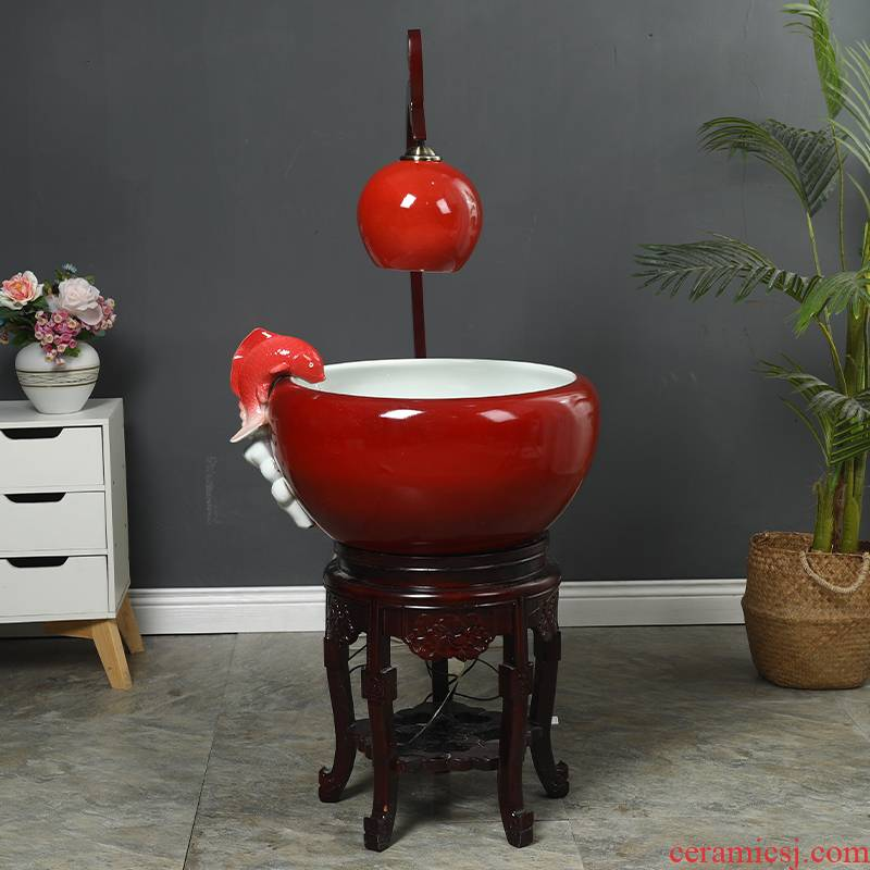Jingdezhen ceramic aquarium filter home office open ceramic with lamp water aquarium decorative furnishing articles