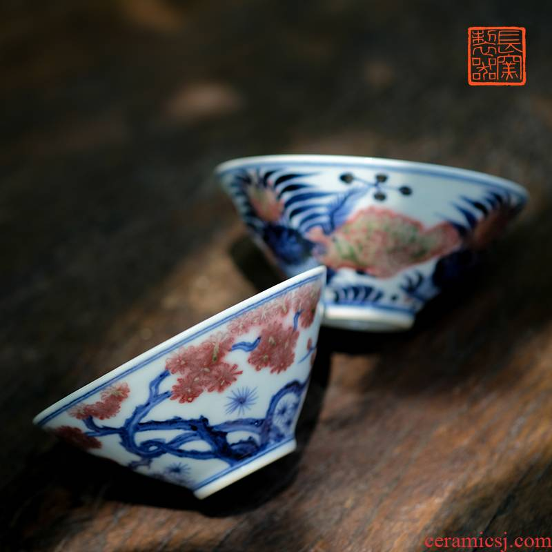Long up controller hand - made porcelain jingdezhen ceramics youligong perfectly playable cup sample tea cup tea cup by hand
