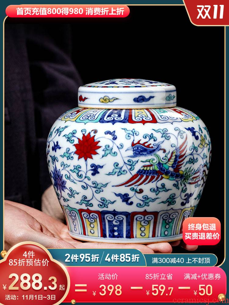 Jingdezhen ceramic tea caddy fixings small wake seal blue bucket color porcelain with cover storage jar. A kilo