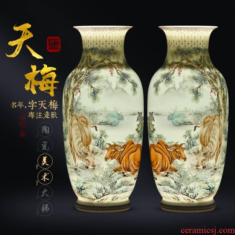 Hsu emperor up 】 【 tradition craft pastel hand - made something on bottles of jingdezhen ceramic vase furnishings