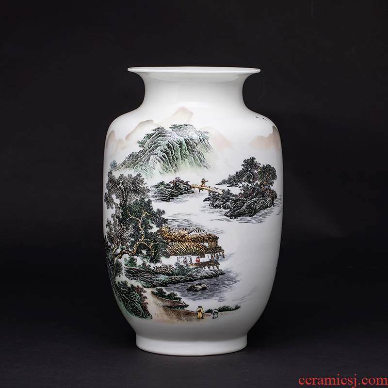 Blue and white porcelain vase furnishing articles of jingdezhen ceramics Chinese flower arranging rich ancient frame home decoration handicraft sitting room
