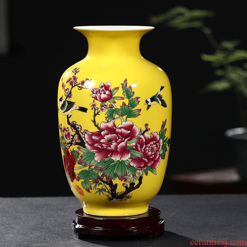 Jingdezhen ceramic blue yellow floret bottle of flower arranging flowers, new Chinese style porch sitting room adornment handicraft furnishing articles