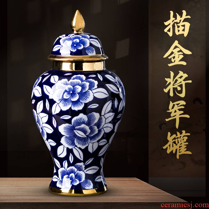 Jingdezhen chinaware paint the general pot of blue and white porcelain vase furnishing articles of new Chinese style living room home decoration process