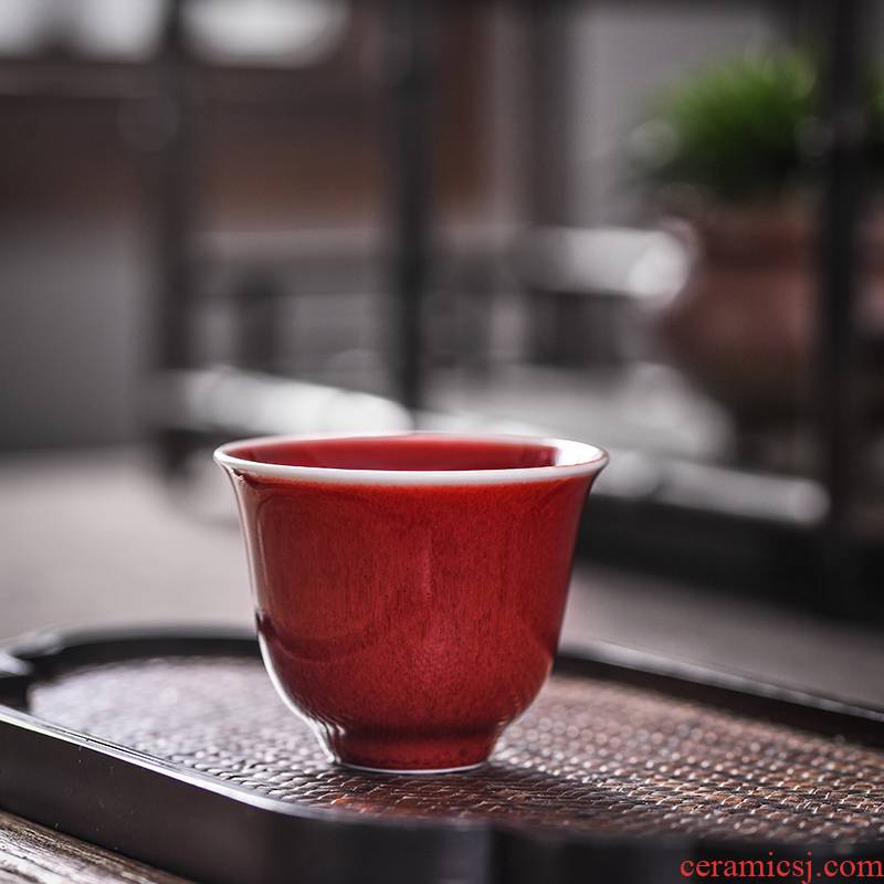 One thousand fire kung fu master of jingdezhen ceramic large individual cup all hand cups ruby red sample tea cup single CPU