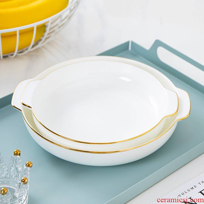 Up Phnom penh ipads porcelain dish plate of jingdezhen ceramic plates home dinner plate disc iron tableware ears against the deep dish FanPan