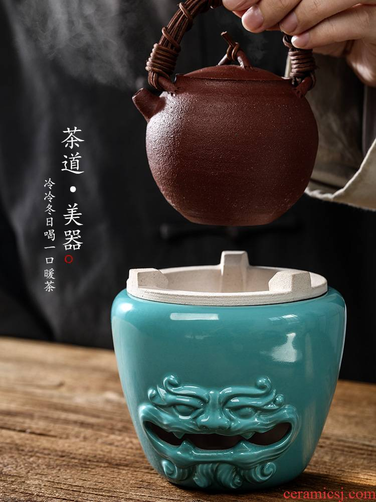 Ken shun ke jingdezhen in true pure manual charcoal up stove to boil tea stove ceramic pine green glaze Chinese style household small tea stove