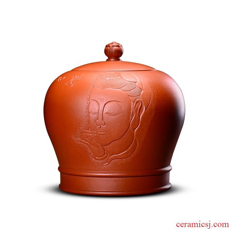 Shadow enjoy violet arenaceous caddy fixings small yixing ceramic manual storage tanks seal pot puer tea box storage tanks HZ