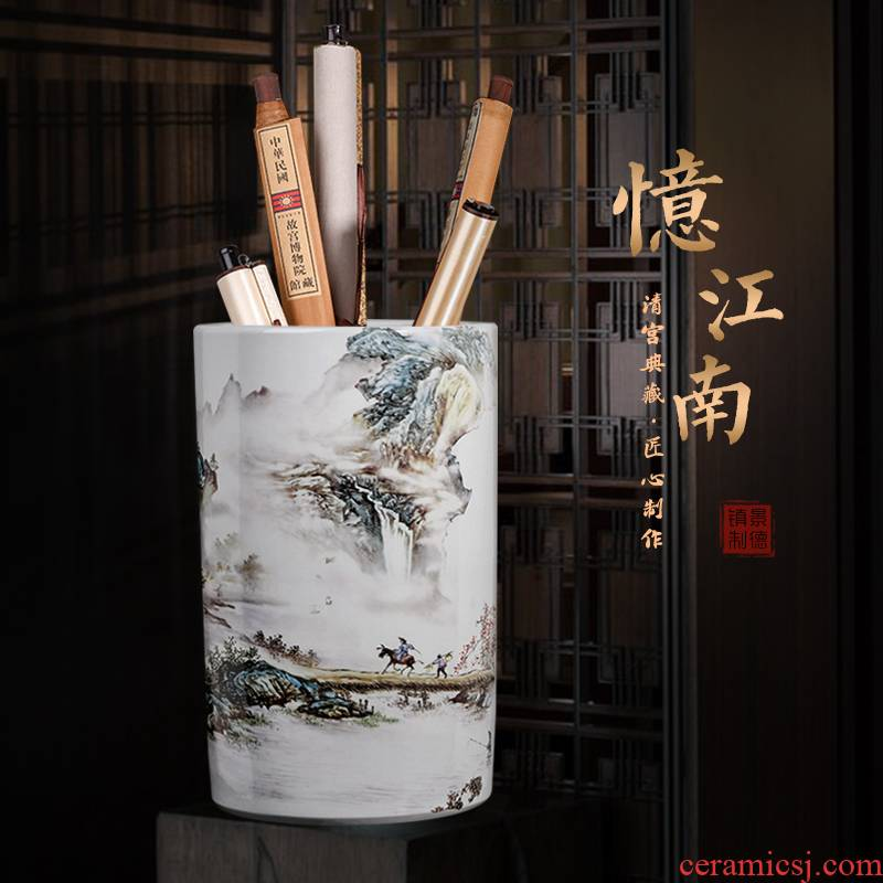 Jingdezhen ceramics receive tube scroll painting and calligraphy cylinder vase furnishing articles of Chinese style of calligraphy and painting the study large sitting room adornment
