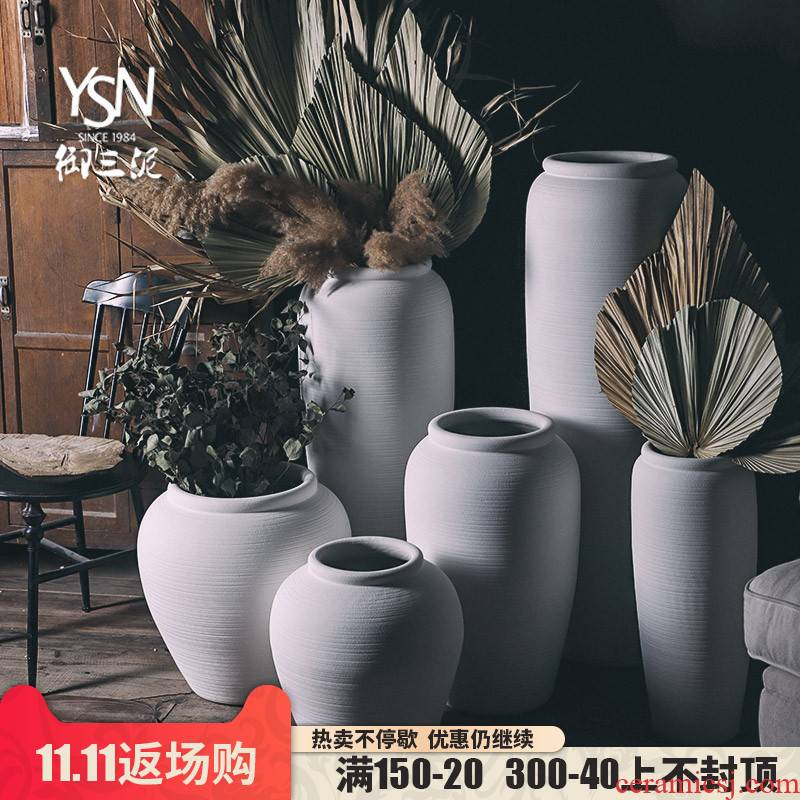 Royal three coarse pottery Nordic white mud of large vase furnishing articles contracted modern wind dried flowers flower arrangement wedding decoration