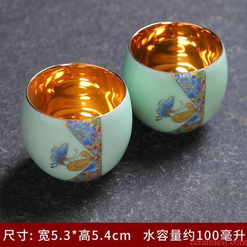 Jingdezhen archaize colored enamel celadon ceramic cups sample tea cup kung fu tea set individual tasting a cup of tea cup
