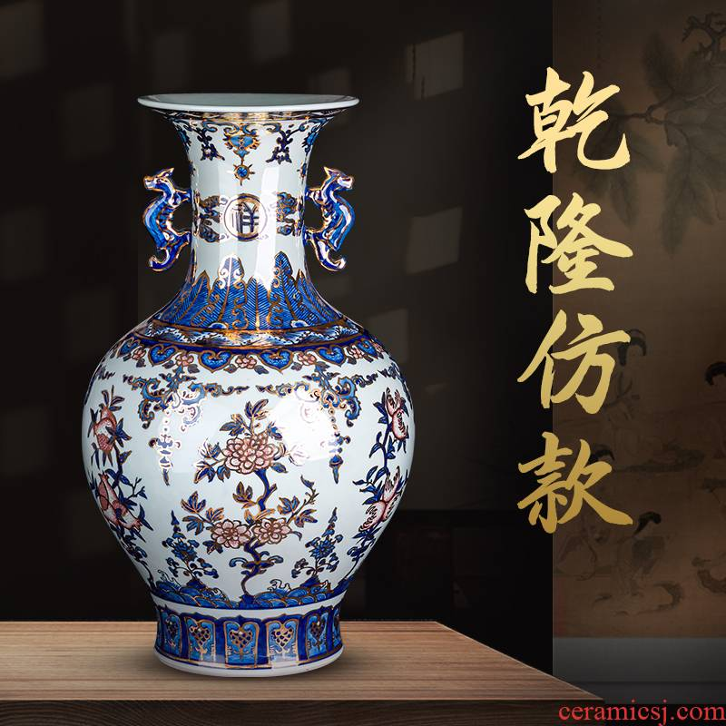 Hand the see colour of blue and white porcelain of jingdezhen ceramic vases, Chinese style living room TV cabinet China household decorations