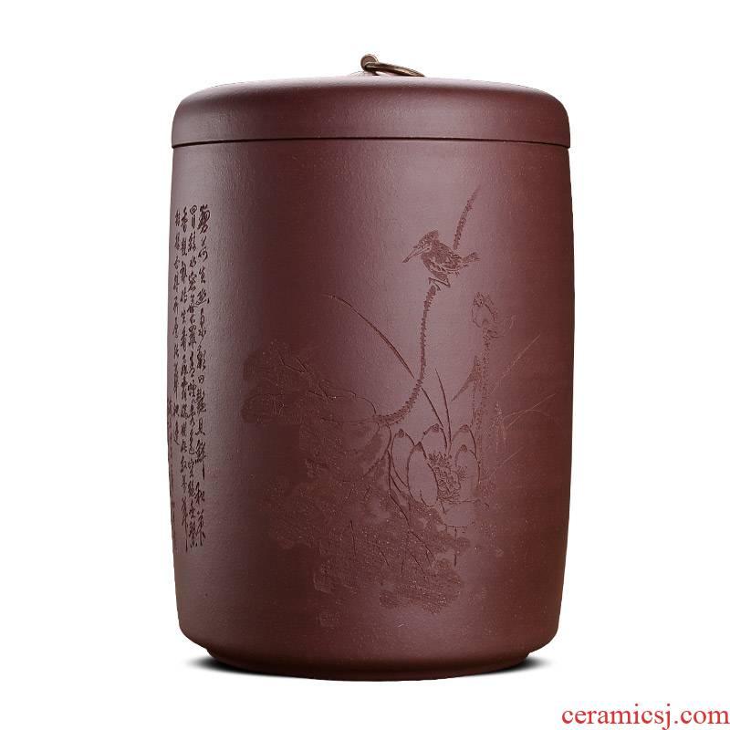 Shadow enjoy coarse ore yixing purple sand tea caddy fixings cylinder TaoCun receives domestic large tea bucket of ten loaves of bread