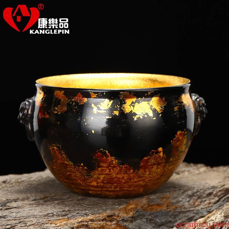Recreational product violet arenaceous gold lacquer tea set big benevolent master cup tea cup tea large capacity 210 ml