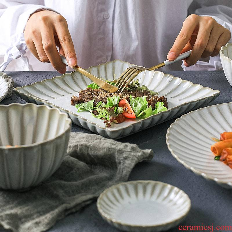The Line NingFu white glaze all dishes suit contracted Japanese dishes suit creative web celebrity ceramic tableware suit
