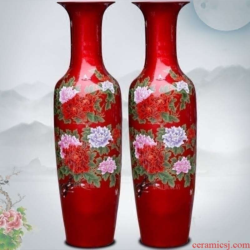 Color sharply jingdezhen ceramics glaze peony flowers prosperous large vases, crystal glaze furnishing articles in the living room